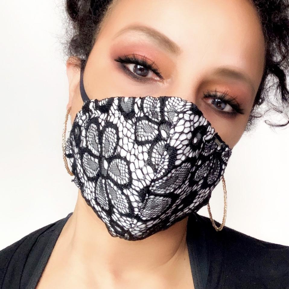 Black and White Floral Lace Face Mask Lined With 100% Cotton Washable Reusable Filter Pocket