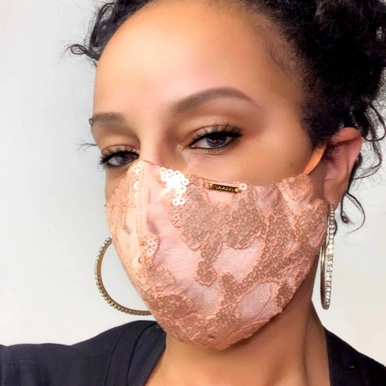 Rose Gold Sequin and Silk Face Mask With Filter Pocket
