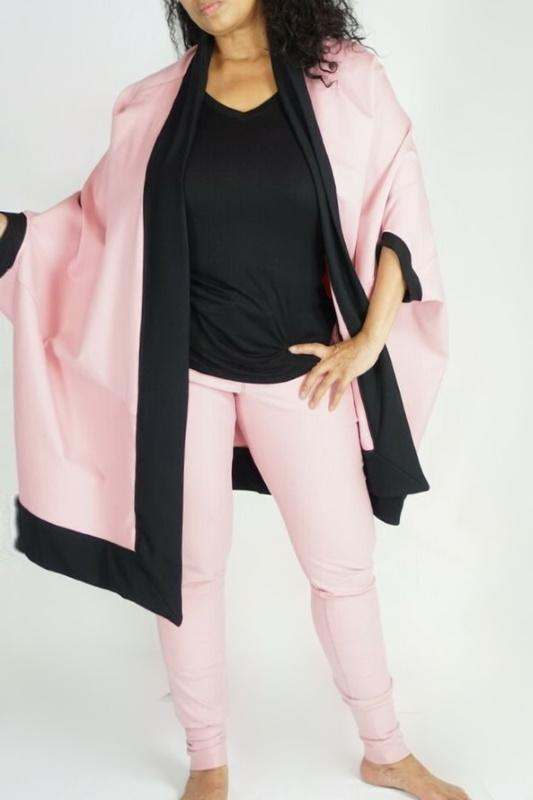 LOGO Collection By Braazi Pink and Black Cocoon Kimono