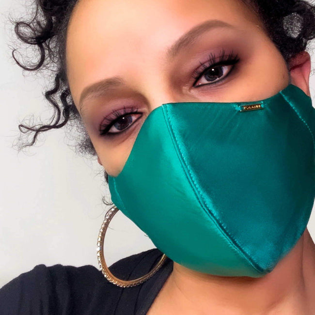Dark Green Silk Face Mask Lined With Cotton Filter Pocket Washable Reusable