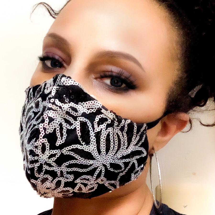 Black and Silver Sequinned Silk Face Mask Lined With 100% Cotton Washable Reusable Filter Pocket