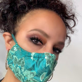 Green Sequin and Satin Face Mask Lined With 100% Cotton Washable Reusable Filter Pocket