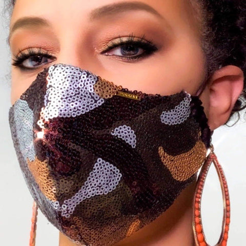 Red and Black Sequinned Silk Face Mask Lined With 2 layers of 100% Cotton Washable Reusable Filter Pocket