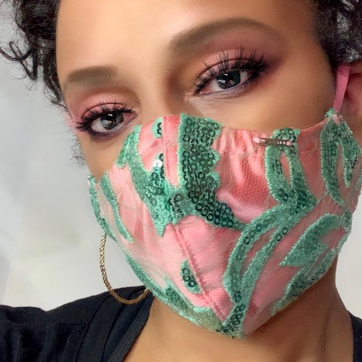 Pink and Green Sequin and Satin Face Mask Lined With 100% Cotton Washable Reusable Filter Pocket