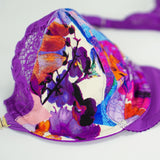Amber Kai Tailor Unlined Bra with Printed Jersey & Lace Cups|  Purple  |  Racerback