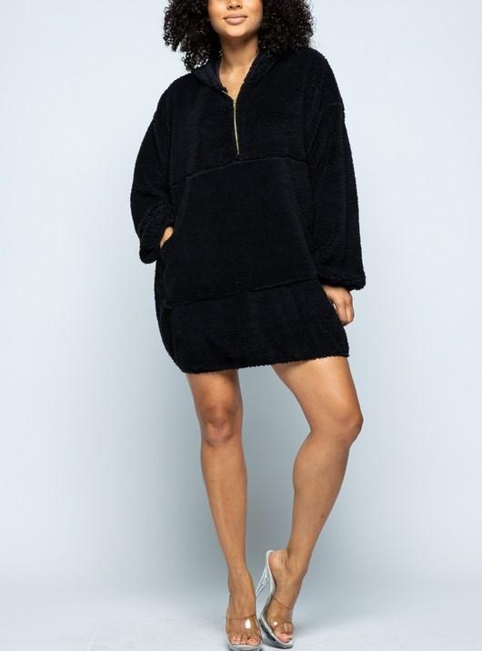 LOGO By Braazi Faux Fur Teddy Sweatshirt Dress