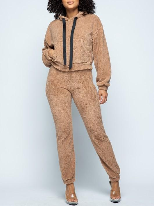 LOGO By Braazi Faux Fur Teddy Jogger Set