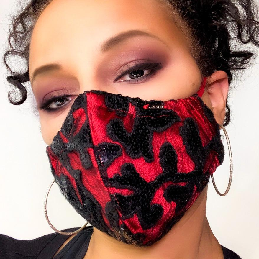 black and red sequin face mask