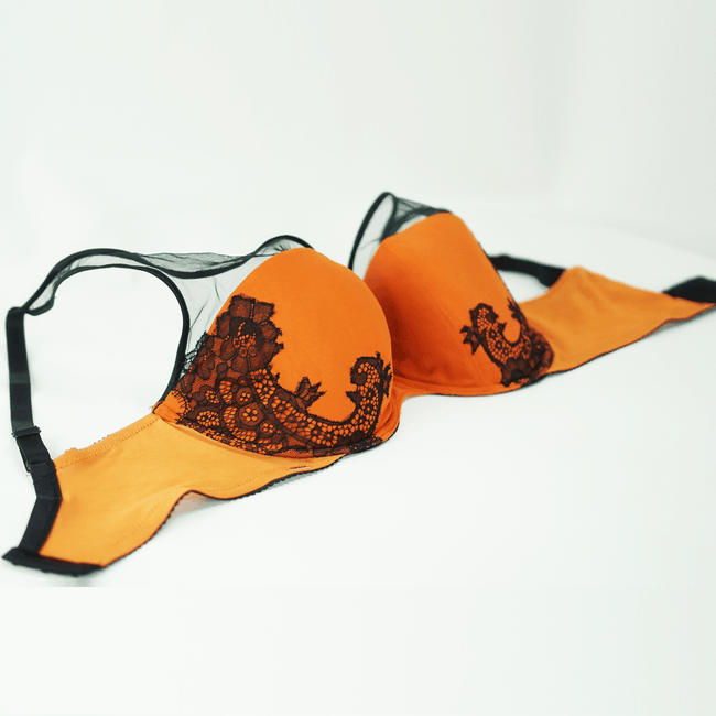Isabelle Padded Bra with Lace Appliqued Cups Mandarin Orange  |  Black