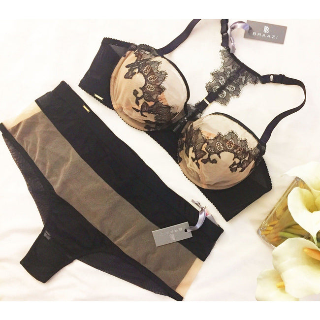 Lingerie Set - Amber Kai Allister Bra With Appliqued Cups & Audrie Aileen Thong In Nude/Black