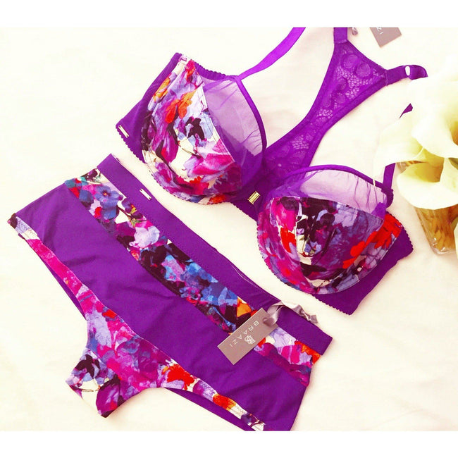 Lingerie Set - Amber Kai Tailor Bra & Audrie Aileen Thong In Multi-colored Jersey/Rich Lilac