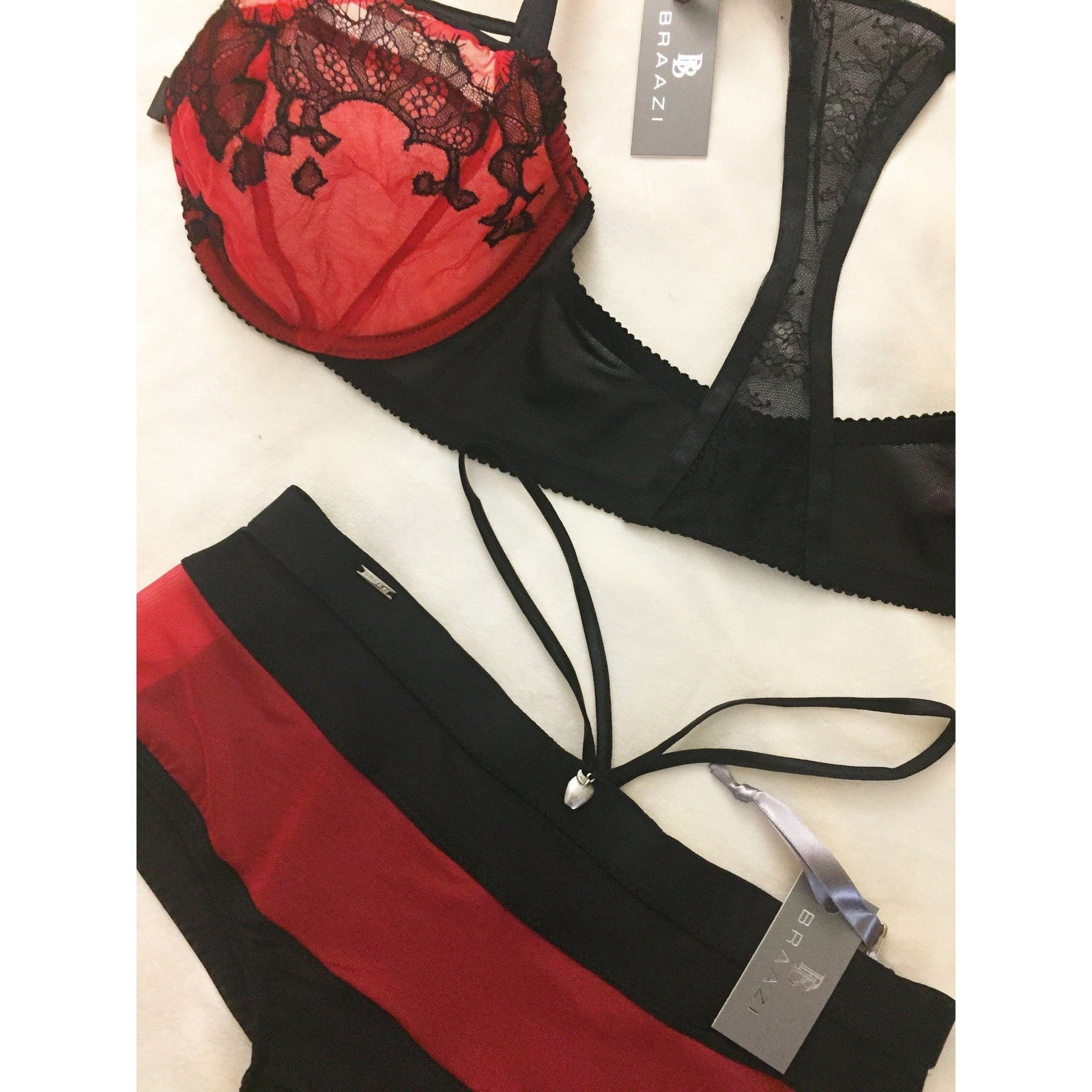 Lingerie Set - Amber Kai Tailor Bra With Bondage Straps & Audrie Diana Brief In Scarlet/Black
