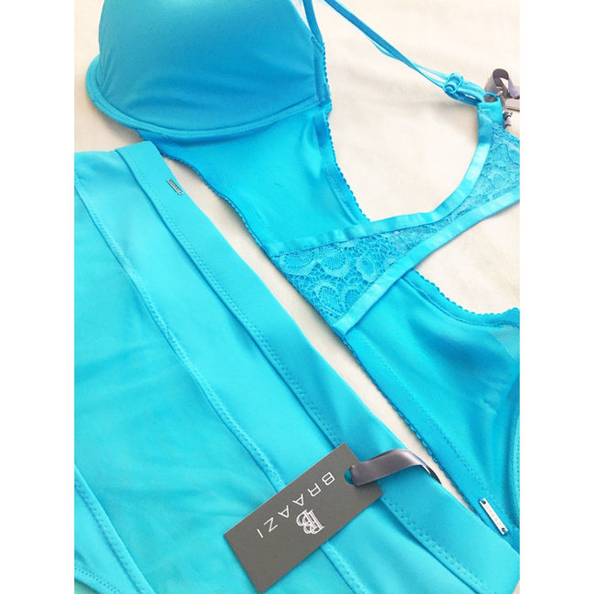 Lingerie Set - Isabelle Kai Tailor Bra & Audrie Diana Panties In Angel Blue