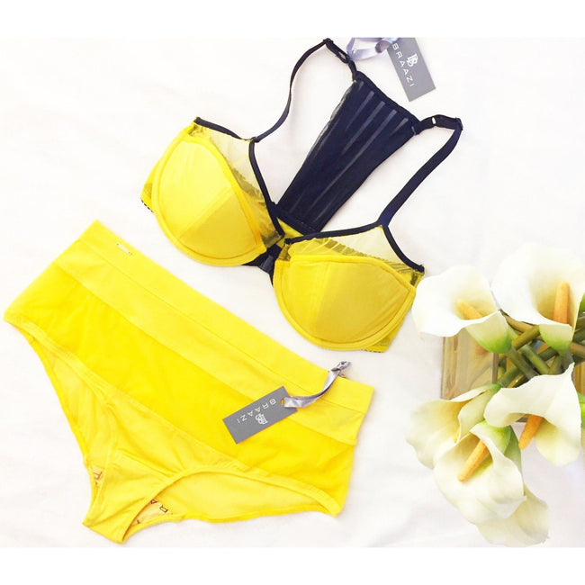 Lingerie Set - Julianna Kai Tyler Bra & Audrie Diana Panties In Canary/Black