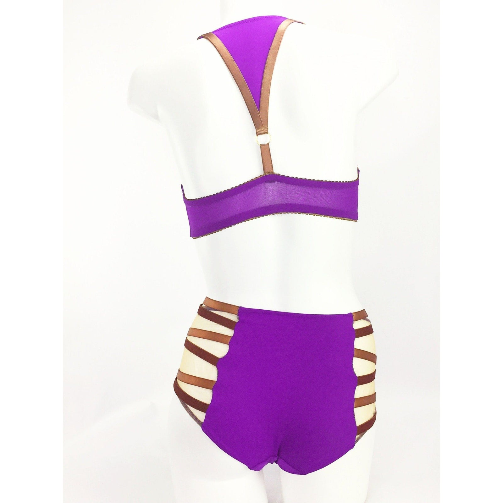 Lingerie Set - Julianna Lynn Bond Bra & Reesa Faye Highwaisted Pant In Purple With Bronze Bondage Straps