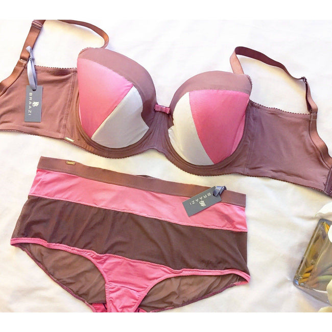 Lingerie Set - Priscilla Ona West Bra With Audrie Diana Panties In Neopolitan