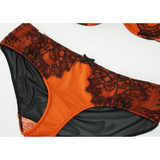 Isabelle Bra & Meena Hipster Panties in Mandarin Orange and Black