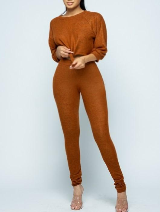 LOGO by Braazi Burnt Orange Crop Top and Leggings Lounge Set