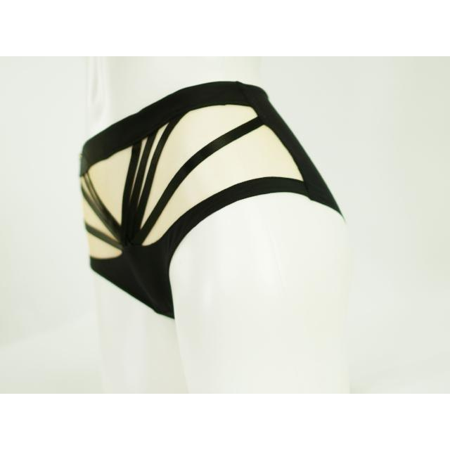 Panties - Cindi Aileen Tribal Highwaisted Thong |  Nude And Black |  Bondage Straps