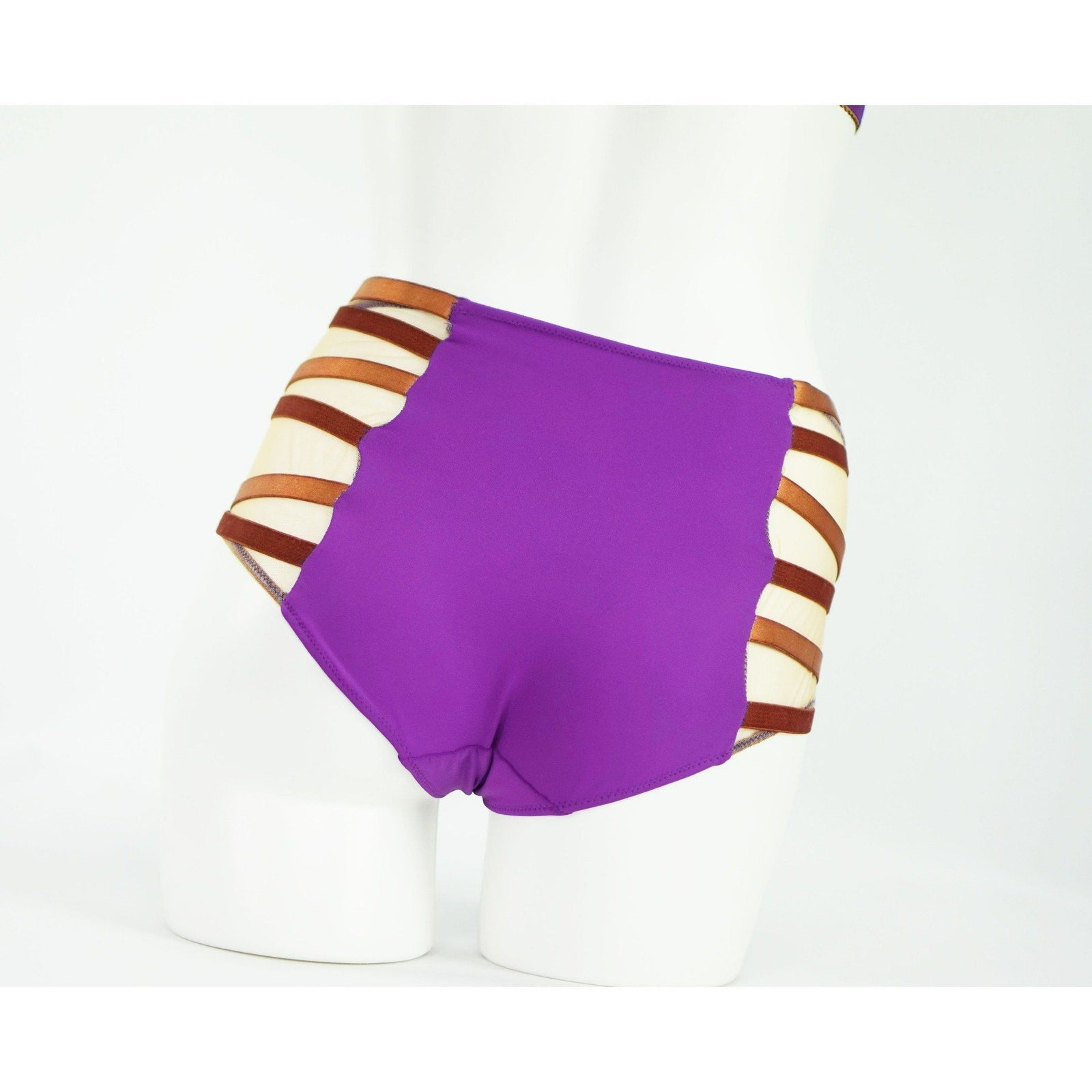Panties - Reesa Faye Tribal Highwaisted Brief|  Purple And Bronze |  Bondage Straps