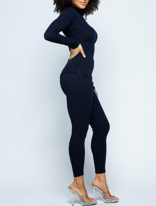 LOGO by Braazi Collection Knit Mock Neck and Legging Lounge Set