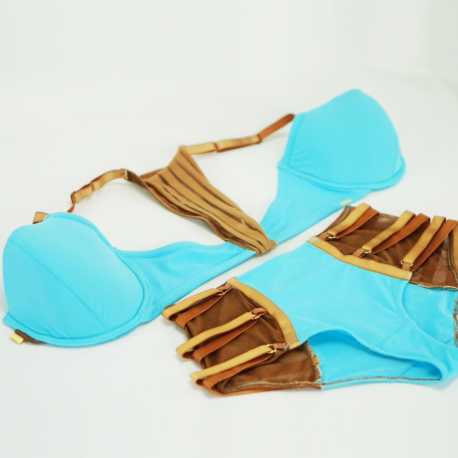 Turquoise Blue High Waisted Strappy Swim Bottom