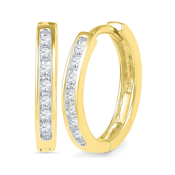 10kt Yellow Gold Womens Round Channel-set Diamond Hoop Earrings 1/6 Cttw