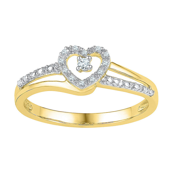 10kt Yellow Gold Womens Round Diamond Heart Promise Bridal Ring 1/20 Cttw
