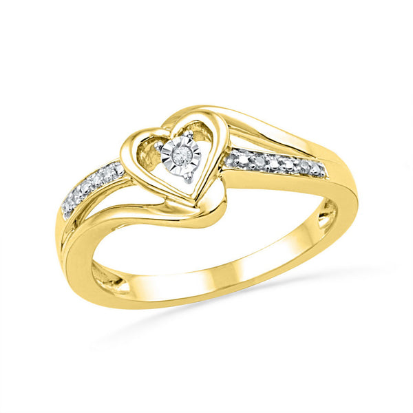 10kt Yellow Gold Womens Round Diamond Heart Promise Bridal Ring .03 Cttw