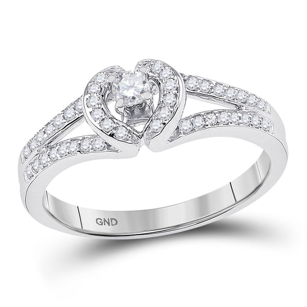 10kt White Gold Womens Round Diamond Heart Promise Bridal Ring 1/4 Cttw