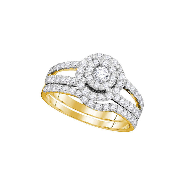 14kt Yellow Gold Womens Round Diamond Bridal Wedding Engagement Ring Set 1.00 Cttw