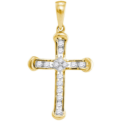 10kt Yellow Gold Womens Round Diamond Cross Pendant 1/5 Cttw