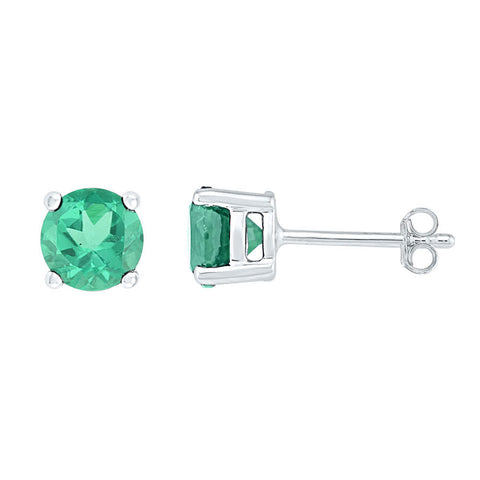 Sterling Silver Womens Round Lab-Created Emerald Solitaire Stud Earrings 2.00 Cttw