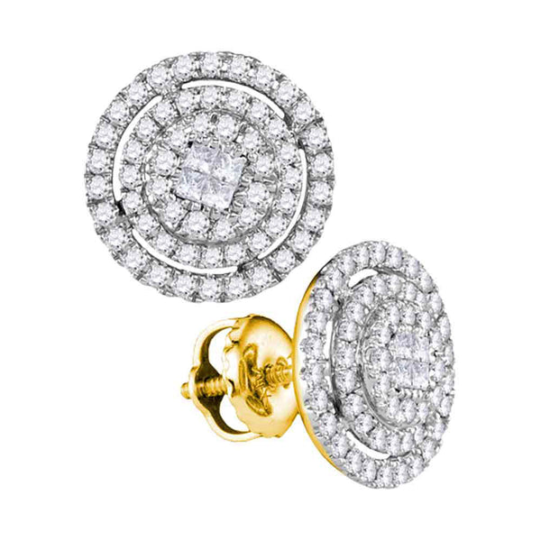 14kt Yellow Gold Womens Princess Round Diamond Concentric Cluster Screwback Earrings 1/2 Cttw