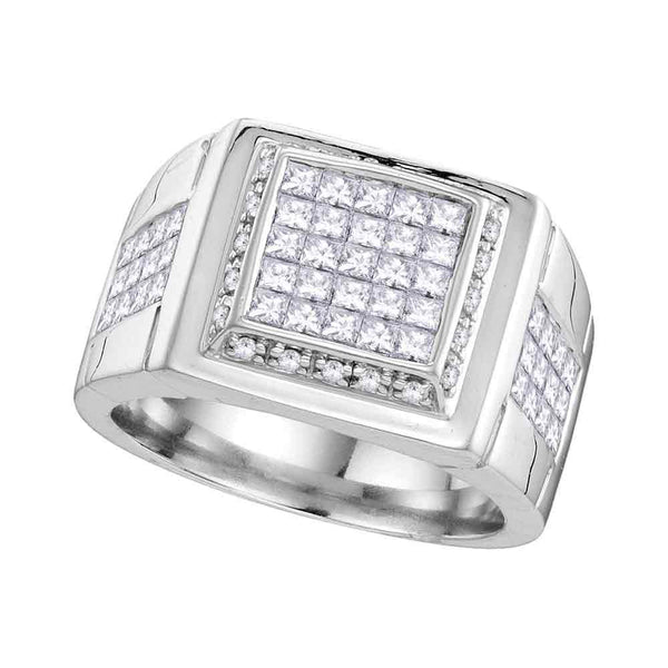 10kt White Gold Mens Princess Diamond Square Cluster Ring 1-3/4 Cttw
