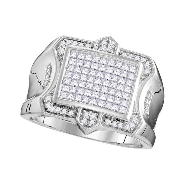 10kt White Gold Mens Princess Diamond Symmetrical Square Cluster Ring 1.00 Cttw