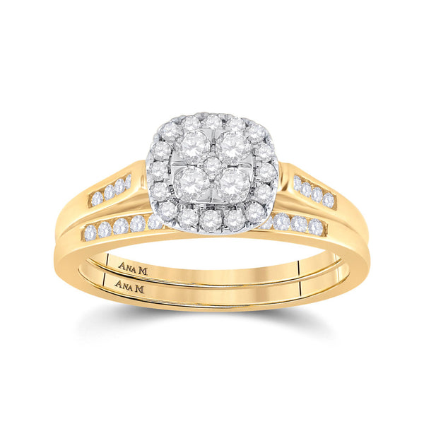 14kt Yellow Gold Womens Round Diamond Cluster Bridal Wedding Engagement Ring Band Set 1/2 Cttw