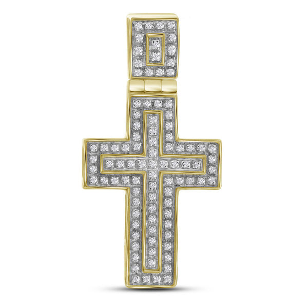 10kt Yellow Gold Mens Round Diamond Layered Cross Charm Pendant 1/4 Cttw