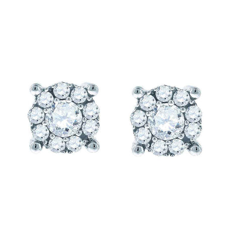 14kt White Gold Womens Round Diamond Halo Earrings 1.00 Cttw