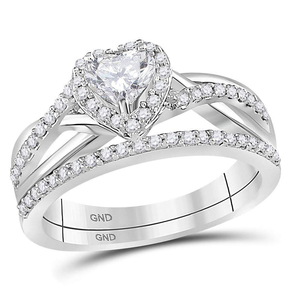 14kt White Gold Womens Heart Diamond Bridal Wedding Engagement Ring Band Set 7/8 Cttw