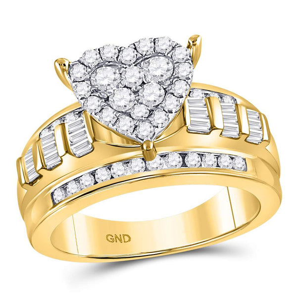 10kt Yellow Gold Womens Round Diamond Heart Cluster Bridal Wedding Engagement Ring 1.00 Cttw