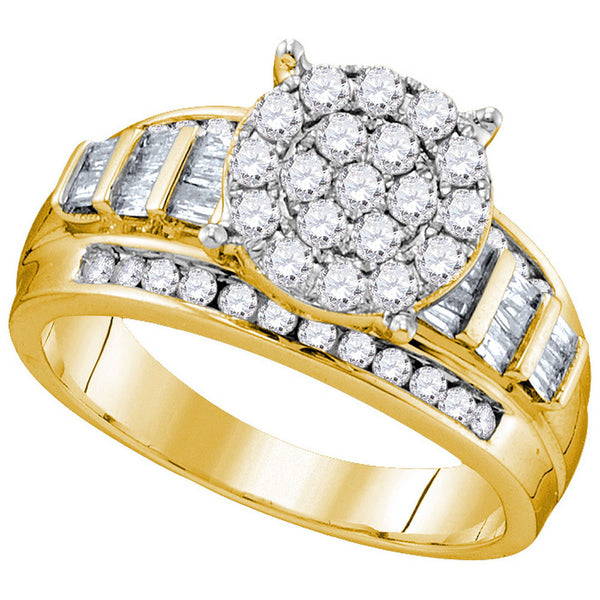 10kt Yellow Gold Womens Round Diamond Cluster Bridal Wedding Engagement Ring 1.00 Cttw Size 8