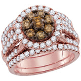14kt Rose Gold Womens Round Brown Diamond 3-Piece Bridal Wedding Engagement Ring Band Set 4.00 Cttw