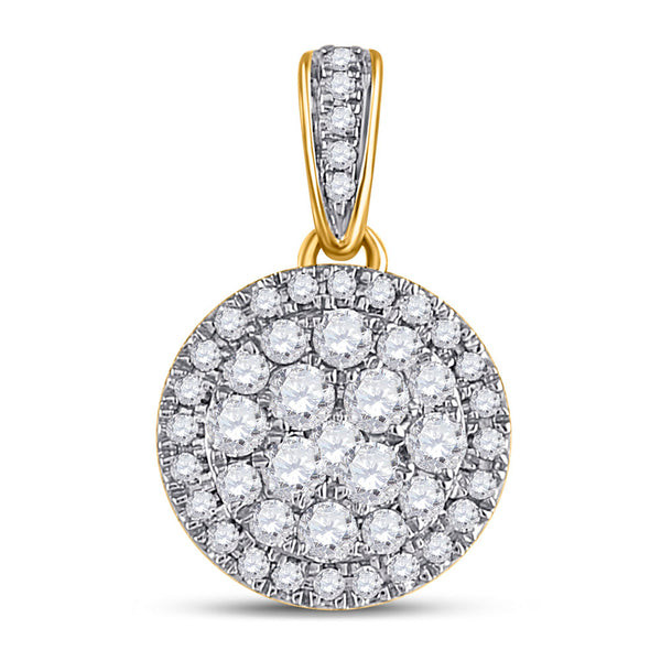 14kt Yellow Gold Womens Round Diamond Halo Cluster Pendant 1/2 Cttw