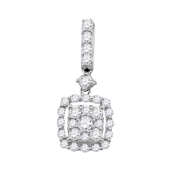 14kt White Gold Womens Round Diamond Square Cluster Pendant 1/2 Cttw