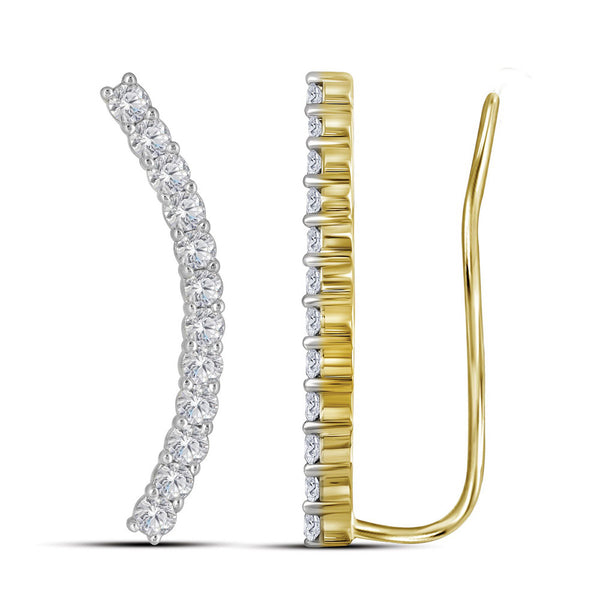 14kt Yellow Gold Womens Round Diamond Curved Contour Climber Earrings 1.00 Cttw