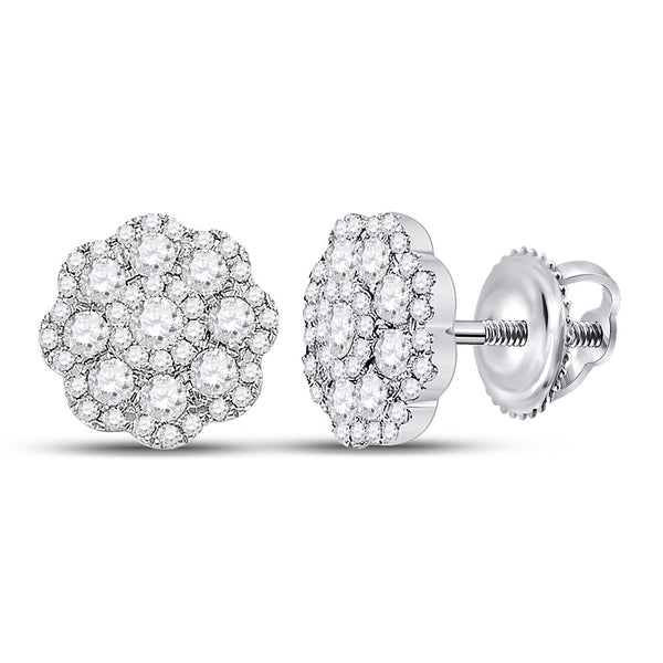 14kt White Gold Womens Round Diamond Flower Cluster Earrings 1.00 Cttw