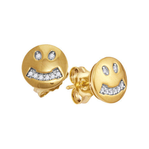 10kt Yellow Gold Womens Round Diamond Smiley Face Earrings 1/20 Cttw