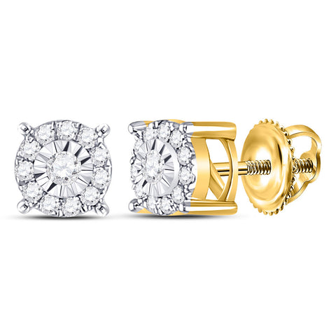 10kt Yellow Gold Womens Round Diamond Halo Earrings 1/5 Cttw