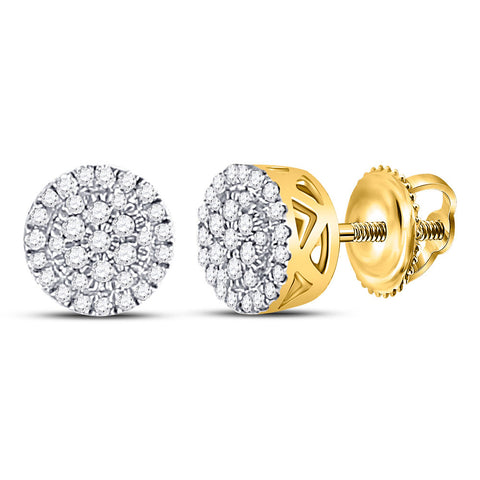 10kt Yellow Gold Mens Round Diamond Circle Cluster Earrings 1/5 Cttw